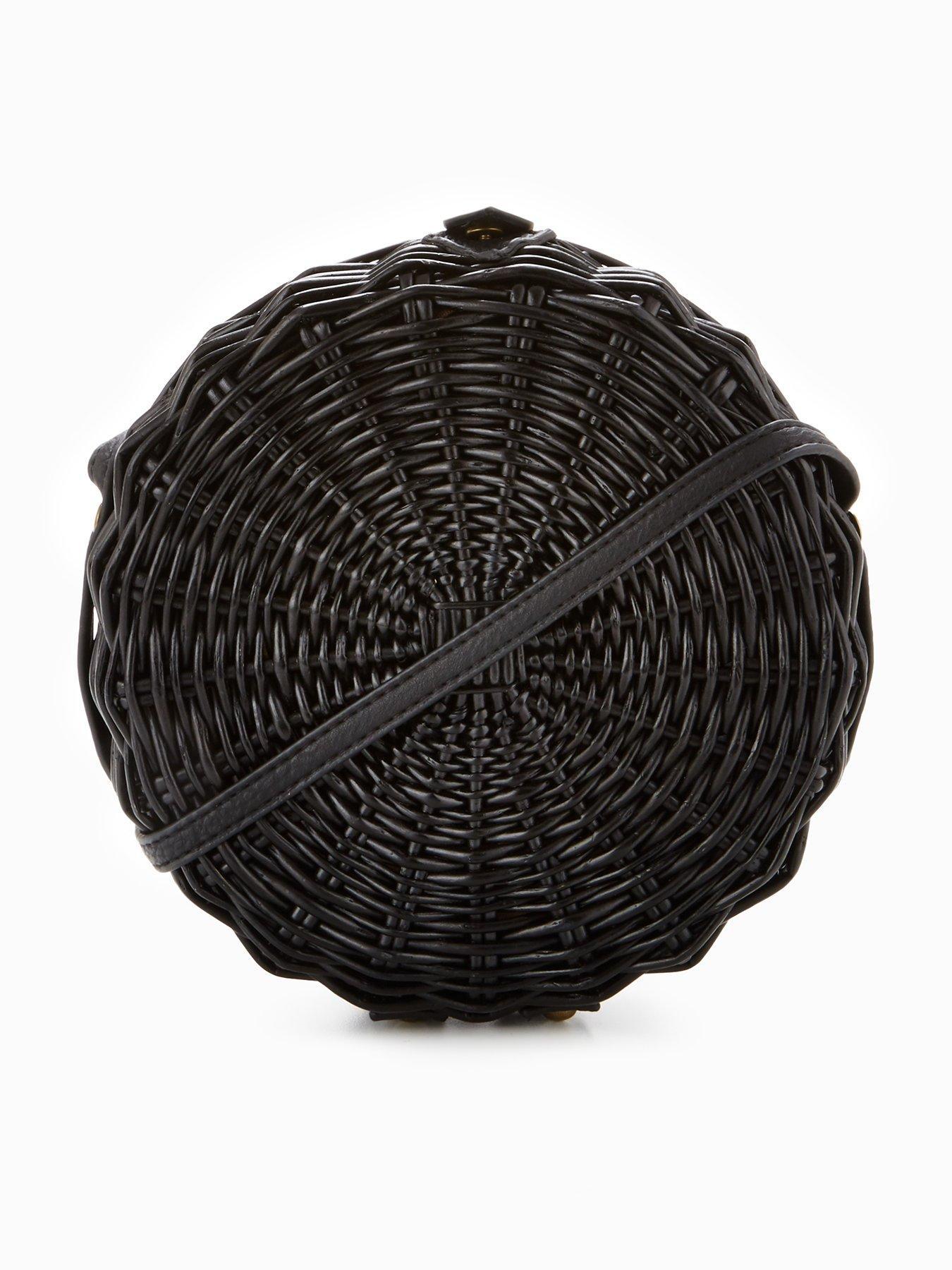 V by Very Circle Straw Crossbody Bag - Black