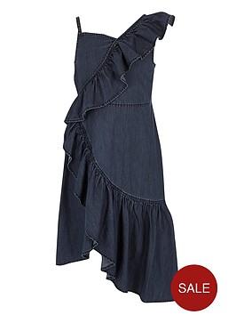 river-island-girls-blue-denim-asymmetric-frill-dress