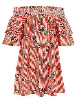 river-island-girls-red-stripe-floral-shirred-bardot-dress