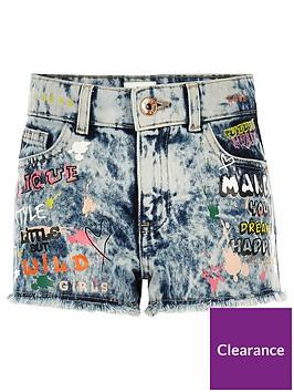 river-island-girls-blue-graffiti-relaxed-denim-shorts
