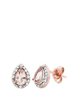 Love GEM Love Gem 9Ct Rose Gold Morganite And Diamond Earrings Picture