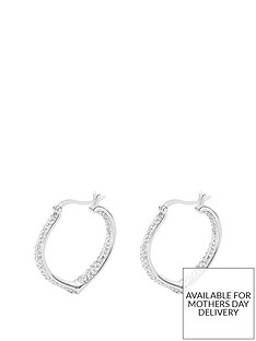 a7d68c4da The Love Silver Collection STERLING SILVER DOUBLE CRYSTAL SET HEART SHAPED CREOLE  EARRINGS