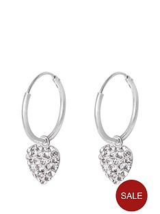 829a46d0c The Love Silver Collection STERLING SILVER 12MM HINGED HOOPS WITH CRYSTAL  PAVE HEART CHARM
