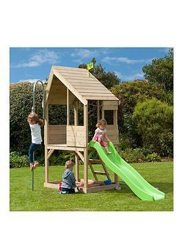 tp chalet wooden playhouse & slide