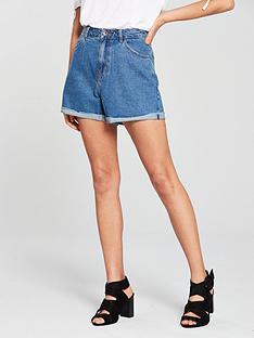 vero-moda-high-waisted-shorts-medium-blue-denim