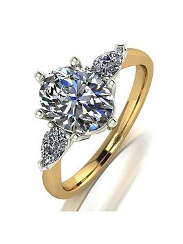 Moissanite Moissanite Moissanite 9Ct Gold 2.5Ct Eq Total Oval And Pear  ... Picture