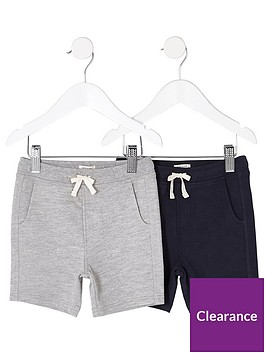 river-island-mini-boys-grey-and-navy-shorts-multipack