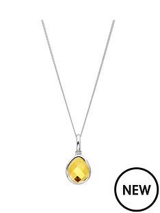 the-love-silver-collection-sterling-silver-organic-ovalcitrine-semi-precious-november-birthstone-pendant