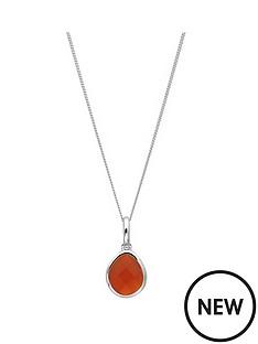 the-love-silver-collection-sterling-silver-organic-oval-carnelian-semi-precious-july-birthstone-pendant