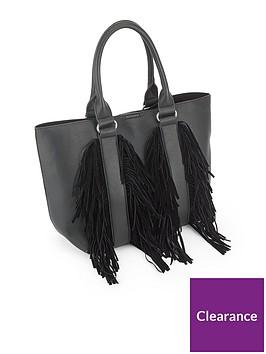 miss-selfridge-black-fringe-tote-bag
