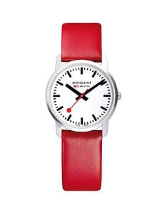mondaine-mondaine-simply-elegant-ladies-watch-36mm-stainless-steel-slim-case-white-dial-red-leather-strap