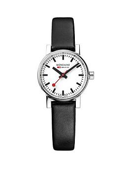 Mondaine Mondaine Evo2 26Mm Stainless Steel Case White Dial Black Leather  ... Picture