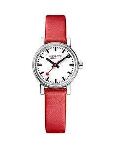 mondaine-mondaine-evo2-ladies-watch-26mm-stainless-steel-case-white-dial-red-leather-strap
