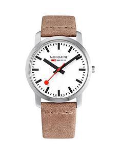 mondaine-mondaine-simply-elegant-unisex-watch-41mm-stainless-steel-slim-case-white-dial-nude-leather-strap