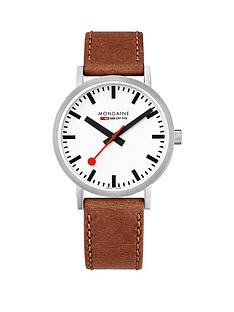 mondaine-mondaine-classic-mens-watch-with-40mm-stainless-steel-case-white-dial-brown-leather-strap