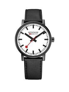 mondaine-mondaine-evo2-mens-watch-40mm-ip-black-case-white-dial-black-leather-stitched-strap