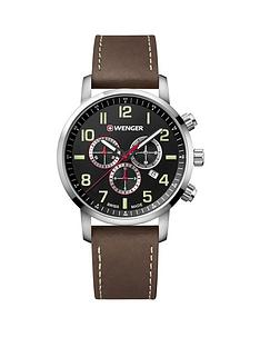 wenger-wenger-attitude-mens-chronograph-watch-blue-dial-44mm-stainless-steel-case-brown-leather-strap-with-cream-stitching