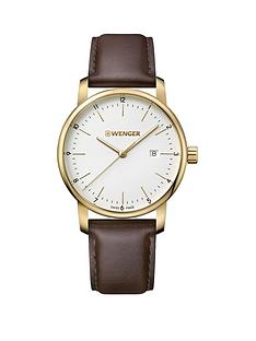wenger-urban-classic-silver-white-dialnbsp42mm-stainless-steel-pvd-gold-case-with-brown-leather-strap-mensnbspwatch
