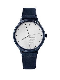 mondaine-mondainehelvetica-no1-light-unisex-watch-with-date-38mm-case-silver-dial-and-indigo-leather-strap