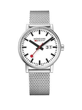 mondaine-evo2nbsp40mm-with-large-date-white-dial-stainless-steel-mesh-bracelet-mensnbspwatch