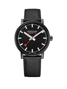 mondaine-evo2nbsp40mm-ip-black-case-black-dial-black-leather-stitched-strap-mensnbspwatch