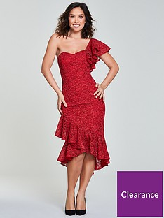 myleene-klass-one-shoulder-wrap-lace-pencil-dress-rednbsp