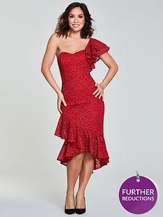 myleene-klass-one-shoulder-wrap-lace-pencil-dress-rednbsp