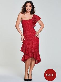 Myleene Klass One Shoulder Wrap Lace Pencil Dress - Red 5519439f6