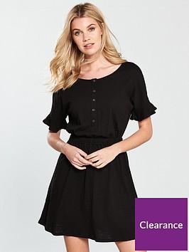 v-by-very-frill-slub-jersey-dress-black