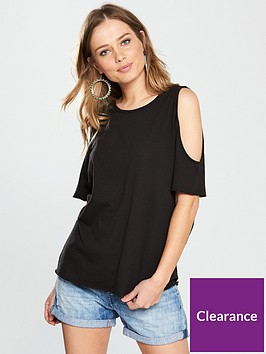 71116a9e81a4c V by Very Cold Shoulder Jersey Top - Black