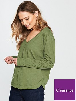 v-by-very-curved-hem-long-sleeve-top-khaki
