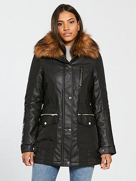 v-by-very-premium-faux-leather-panel-parka-black