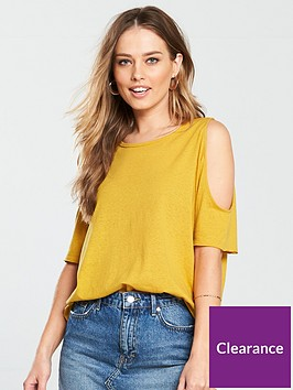 v-by-very-cold-shoulder-jersey-top-mustard