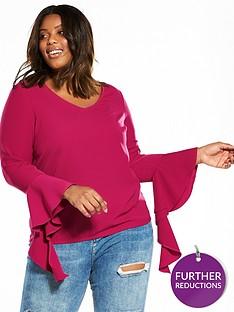junarose-curve-inese-fluted-statement-sleeve-blouse-sangria