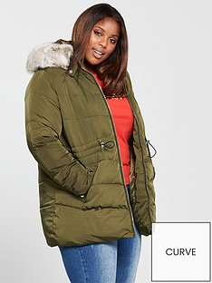 v-by-very-curve-padded-coat-withnbspfaux-fur-trim-khakinbsp