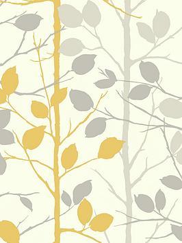ARTHOUSE Arthouse Woodland Grey & Yellow Wallpaper Picture
