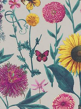 arthouse-sunflower-grey-wallpaper