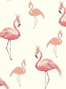 arthouse-queen-flamingo-coral-wallpaper