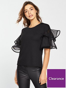 v-by-very-woven-frill-crepe-top-black