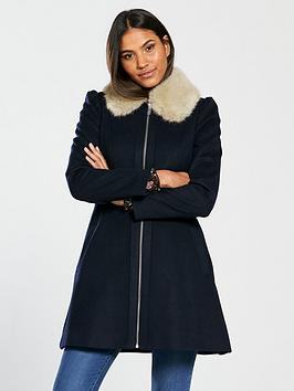 v-by-very-zip-front-skater-coat-navy