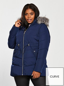 v-by-very-curve-padded-coat-with-fauxnbspfur-trim-and-drawstring-waist-navynbsp