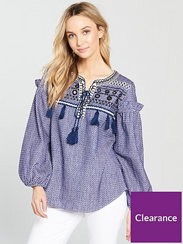 river-island-printed-smock-blouse-blue