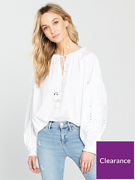 river-island-river-island-cutwork-sleeve-blouse--white