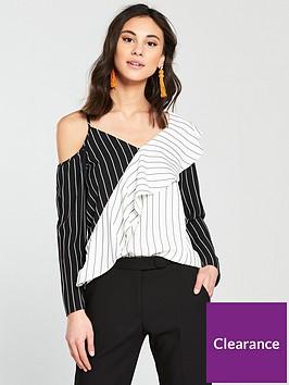 river-island-river-island-contrast-stripe-frill-blouse--mono