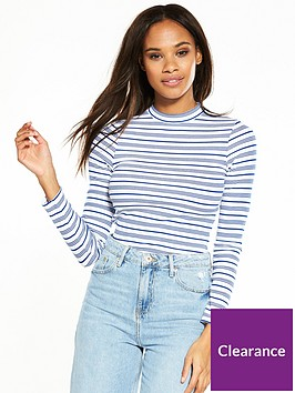river-island-river-island-high-neck-stripe-long-sleeve-t-shirt-blue