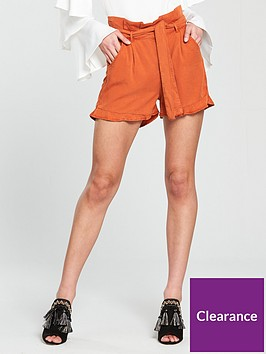 v-by-very-paper-bag-waist-short-with-ruffle-hem-rust