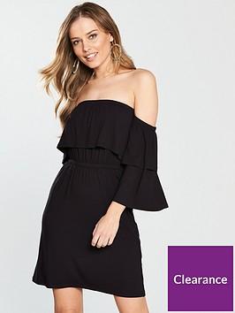 v-by-very-tiered-bardot-jersey-dress-black