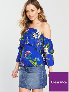 v-by-very-tiered-floaty-jersey-top-blue-tropical-print