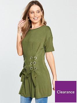 v-by-very-eyelet-lace-up-tunic-top-khaki