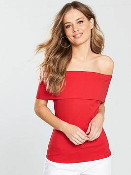 v-by-very-bardot-ponte-top-red